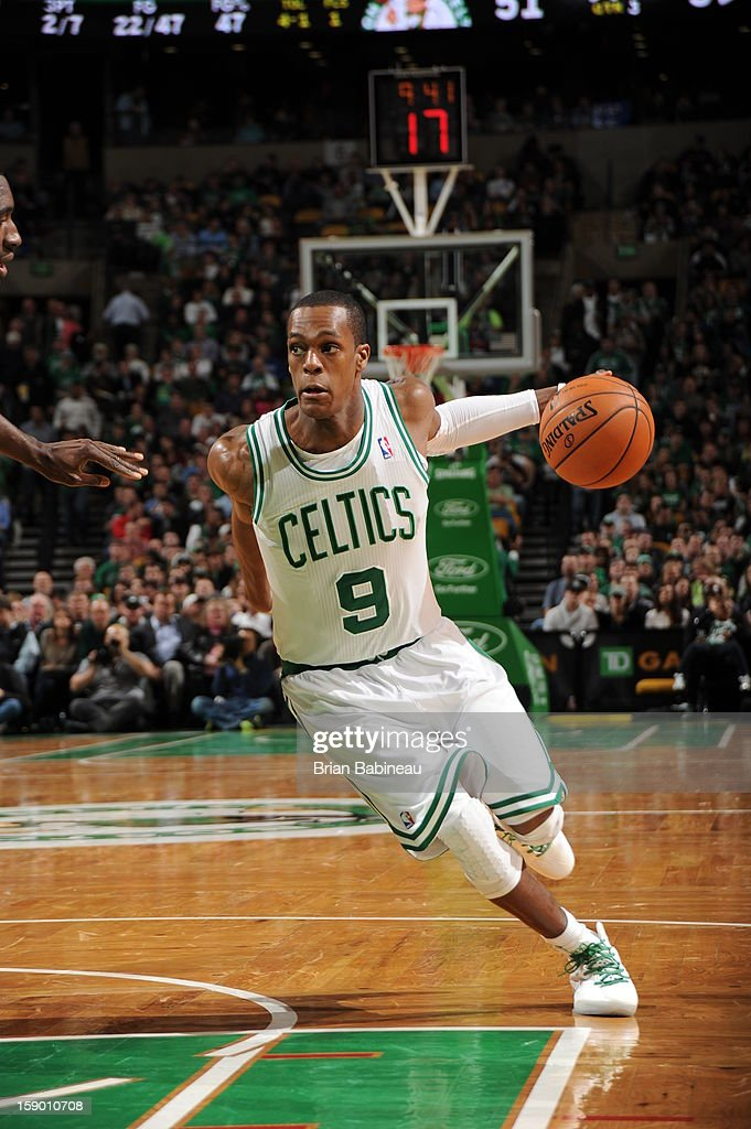 <a gi-track='captionPersonalityLinkClicked' href=/galleries/search?phrase=Rajon+Rondo&family=editorial&specificpeople=206983 ng-click='$event.stopPropagation()'>Rajon Rondo</a> #9 of the Boston Celtics drives to the basket against the Indiana Pacers on January 4, 2013 at the TD Garden in Boston, Massachusetts.