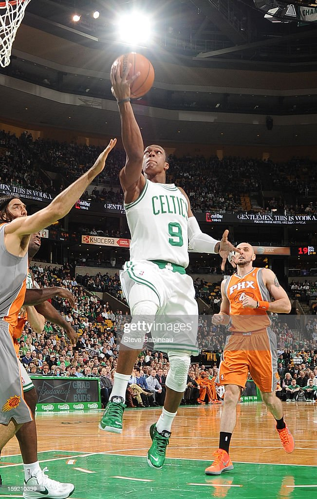 Rajon Rondo #9 of the Boston Celtics drives to the basket against the Phoenix Suns on January 9, 2013 at the TD Garden in Boston, Massachusetts.
