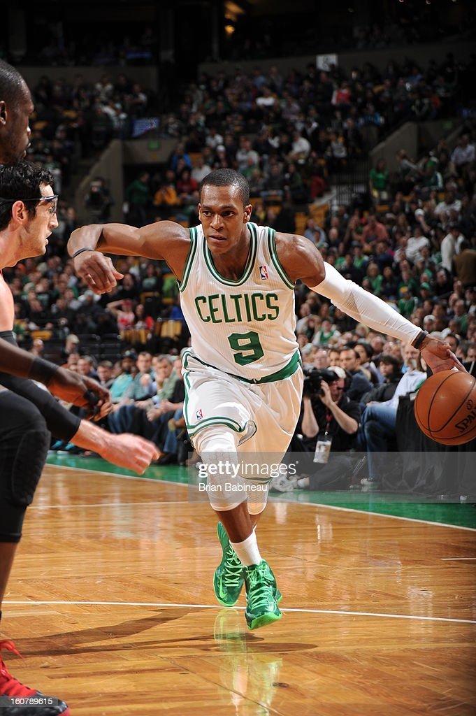 Rajon Rondo #9 of the Boston Celtics drives to the basket against the Chicago Bulls on January 18, 2013 at the TD Garden in Boston, Massachusetts.