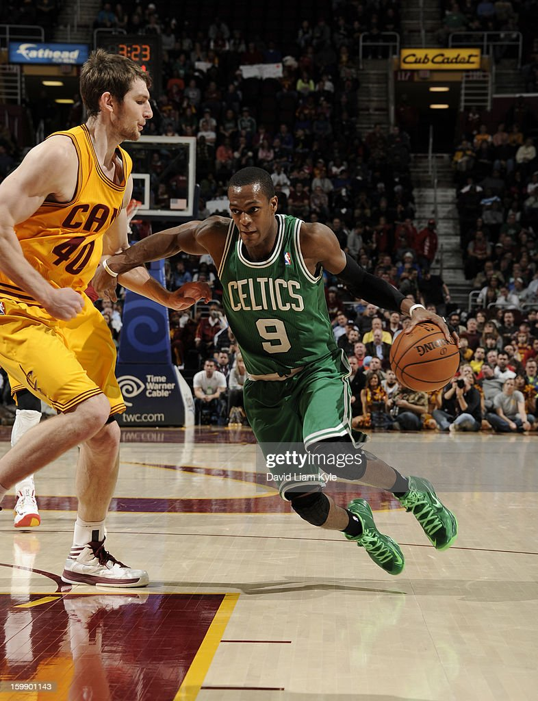 Rajon Rondo #9 of the Boston Celtics drives to the basket against Tyler Zeller #40 of the Cleveland Cavaliers at The Quicken Loans Arena on January 22, 2013 in Cleveland, Ohio.