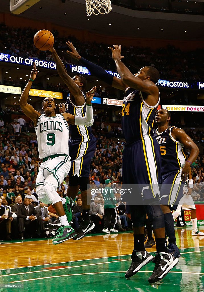 <a gi-track='captionPersonalityLinkClicked' href=/galleries/search?phrase=Rajon+Rondo&family=editorial&specificpeople=206983 ng-click='$event.stopPropagation()'>Rajon Rondo</a> #9 of the Boston Celtics drives to the basket before landing and rolling his ankle against the Utah Jazz during the game on November 14, 2012 at TD Garden in Boston, Massachusetts.