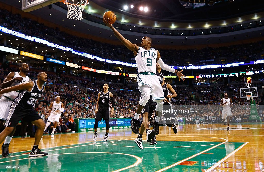 Rajon Rondo #9 of the Boston Celtics drives to the basket for a layup against the San Antonio Spurs during the game on November 21, 2012 at TD Garden in Boston, Massachusetts.