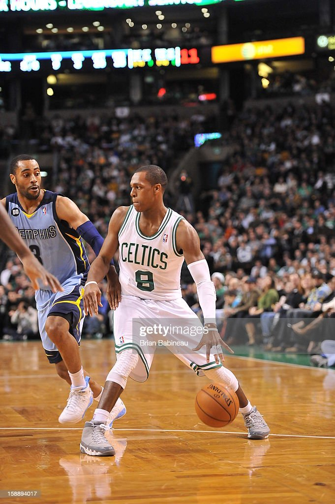 Rajon Rondo #9 of the Boston Celtics drives up the floor looking for an open man against the Memphis Grizzlies on January 2, 2013 at the TD Garden in Boston, Massachusetts.
