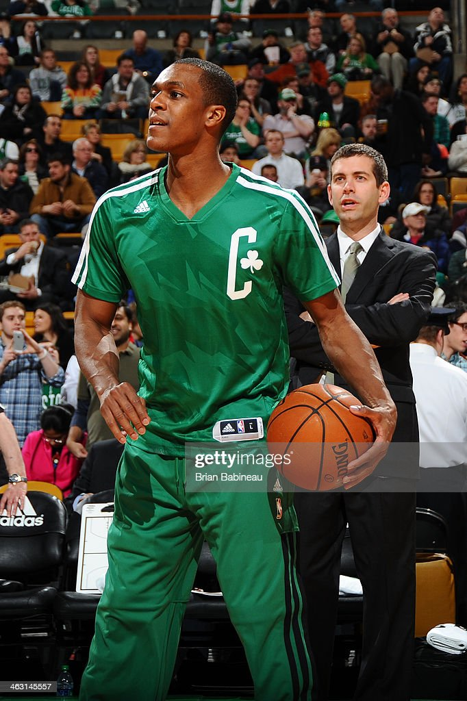 <a gi-track='captionPersonalityLinkClicked' href=/galleries/search?phrase=Rajon+Rondo&family=editorial&specificpeople=206983 ng-click='$event.stopPropagation()'>Rajon Rondo</a> #9 of the Boston Celtics during warm ups before the game against the Toronto Raptors on January 15, 2014 at the TD Garden in Boston, Massachusetts.