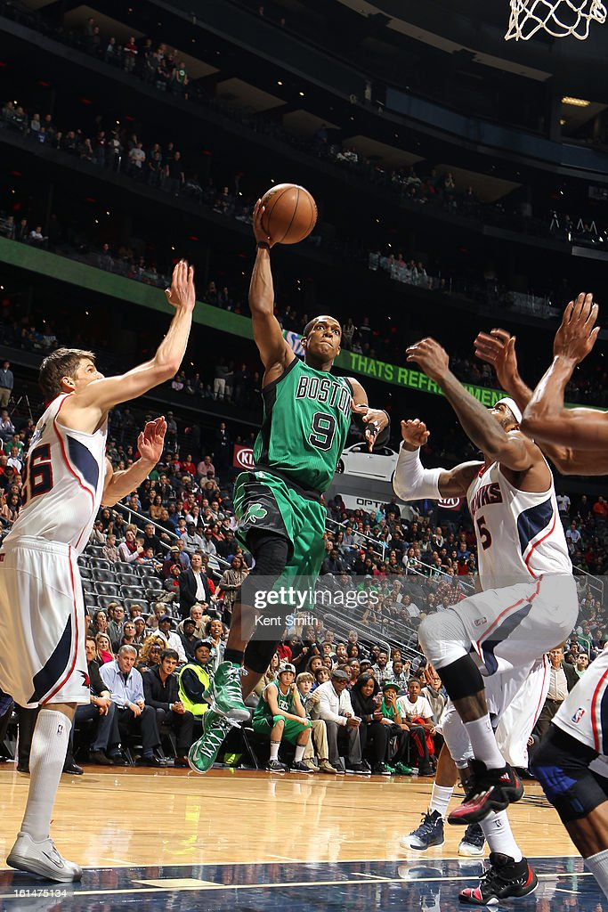 Rajon Rondo #9 of the Boston Celtics glides to the basket against the Atlanta Hawks at the Philips Arena on January 25, 2013 in Atlanta, Georgia.