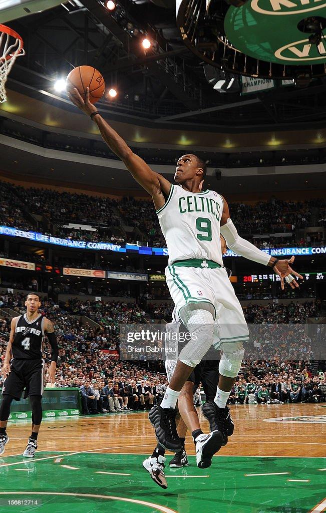 Rajon Rondo #9 of the Boston Celtics goes to the basket against San Antonio Spurs on November 21, 2012 at the TD Garden in Boston, Massachusetts.
