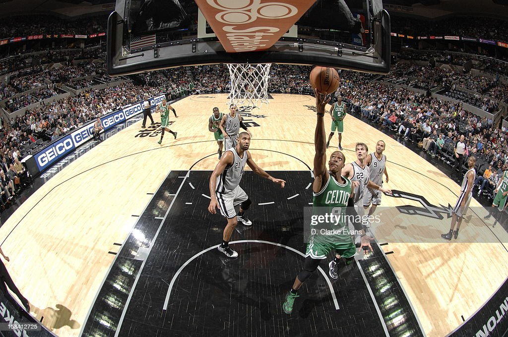 <a gi-track='captionPersonalityLinkClicked' href=/galleries/search?phrase=Rajon+Rondo&family=editorial&specificpeople=206983 ng-click='$event.stopPropagation()'>Rajon Rondo</a> #9 of the Boston Celtics goes to the basket during the game between the Boston Celtics and the San Antonio Spurs on December 15, 2012 at the AT&T Center in San Antonio, Texas.