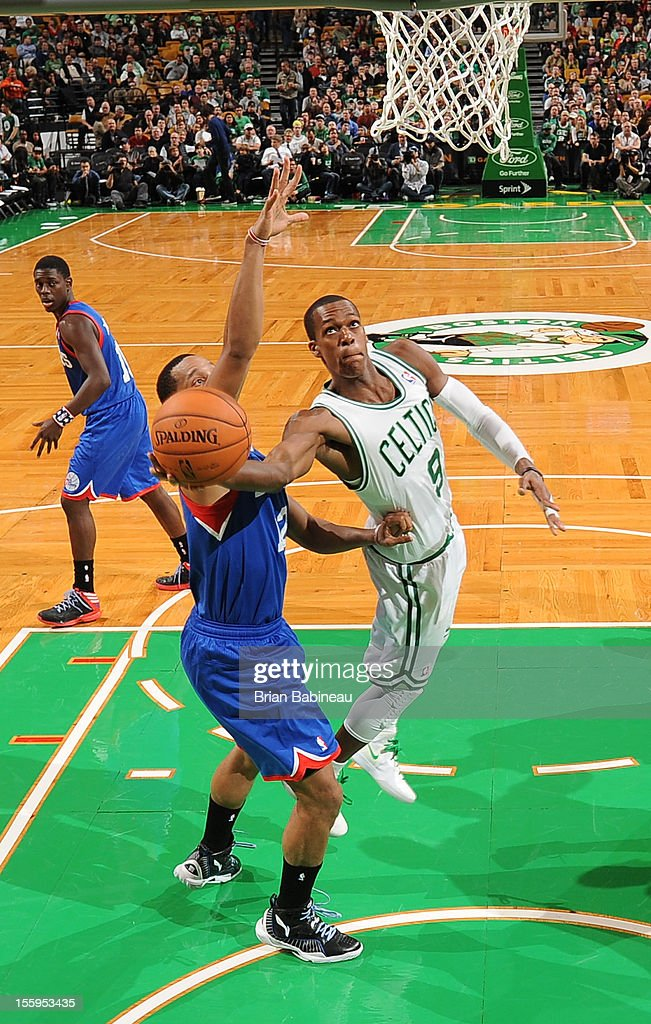 <a gi-track='captionPersonalityLinkClicked' href=/galleries/search?phrase=Rajon+Rondo&family=editorial&specificpeople=206983 ng-click='$event.stopPropagation()'>Rajon Rondo</a> #9 of the Boston Celtics goes up for a shot against the Philadelphia 76ers on November 9, 2012 at the TD Garden in Boston, Massachusetts.