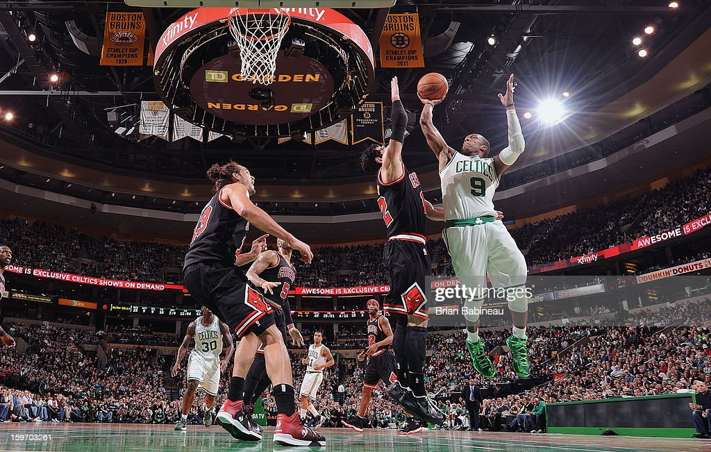 <a gi-track='captionPersonalityLinkClicked' href=/galleries/search?phrase=Rajon+Rondo&family=editorial&specificpeople=206983 ng-click='$event.stopPropagation()'>Rajon Rondo</a> #9 of the Boston Celtics goes up for the layup against the Chicago Bulls on January 18, 2013 at the TD Garden in Boston, Massachusetts.