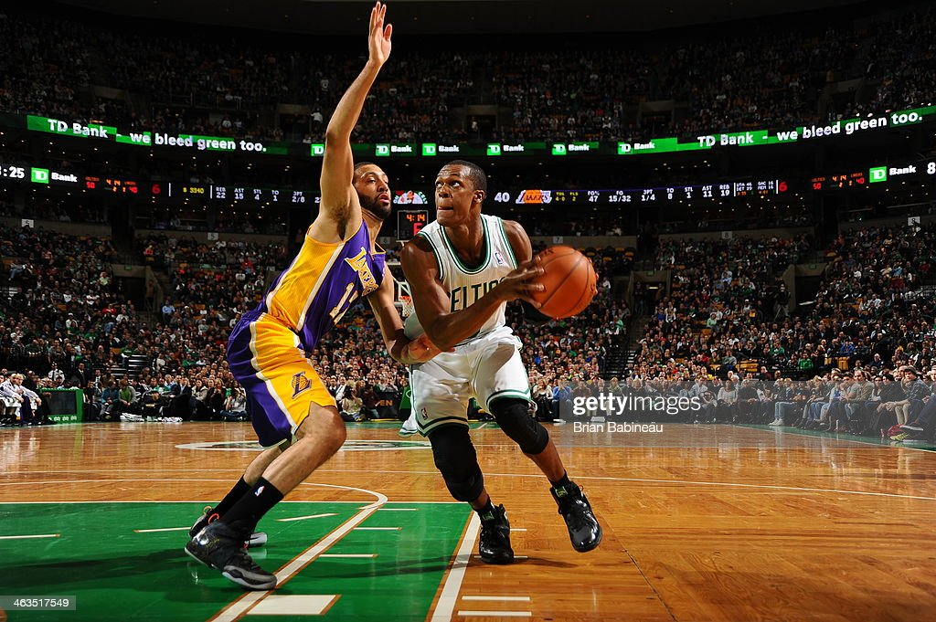 <a gi-track='captionPersonalityLinkClicked' href=/galleries/search?phrase=Rajon+Rondo&family=editorial&specificpeople=206983 ng-click='$event.stopPropagation()'>Rajon Rondo</a> #9 of the Boston Celtics goes up to the basket against the Los Angeles Lakers on January 17, 2014 at the TD Garden in Boston, Massachusetts.