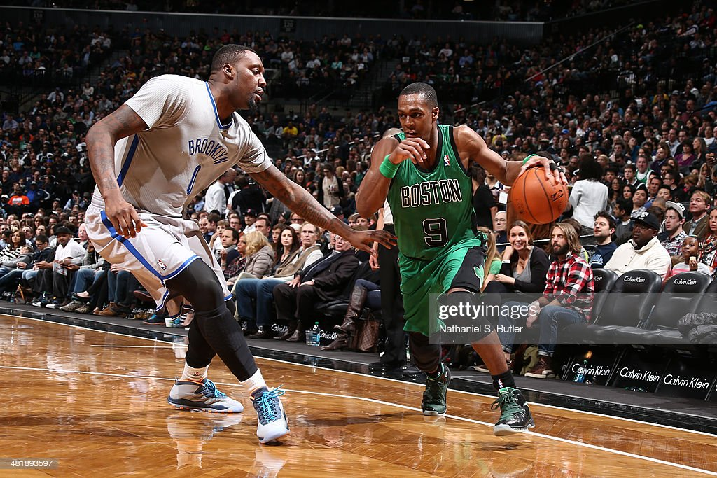 <a gi-track='captionPersonalityLinkClicked' href=/galleries/search?phrase=Rajon+Rondo&family=editorial&specificpeople=206983 ng-click='$event.stopPropagation()'>Rajon Rondo</a> #9 of the Boston Celtics handles the ball against the Brooklyn Nets at the Barclays Center on March 21, 2014 in the Brooklyn borough of New York City.