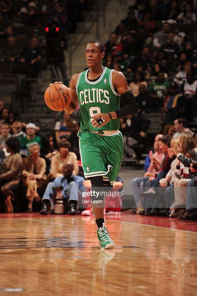 <a gi-track='captionPersonalityLinkClicked' href=/galleries/search?phrase=Rajon+Rondo&family=editorial&specificpeople=206983 ng-click='$event.stopPropagation()'>Rajon Rondo</a> #9 of the Boston Celtics handles the ball against the Detroit Pistons on January 20, 2013 at The Palace of Auburn Hills in Auburn Hills, Michigan.