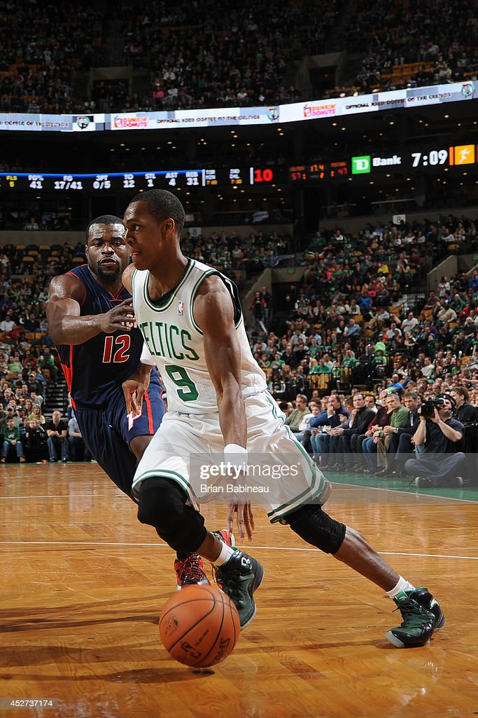 <a gi-track='captionPersonalityLinkClicked' href=/galleries/search?phrase=Rajon+Rondo&family=editorial&specificpeople=206983 ng-click='$event.stopPropagation()'>Rajon Rondo</a> #9 of the Boston Celtics handles the ball against the Detroit Pistons on March 9, 2014 at the TD Garden in Boston, Massachusetts.