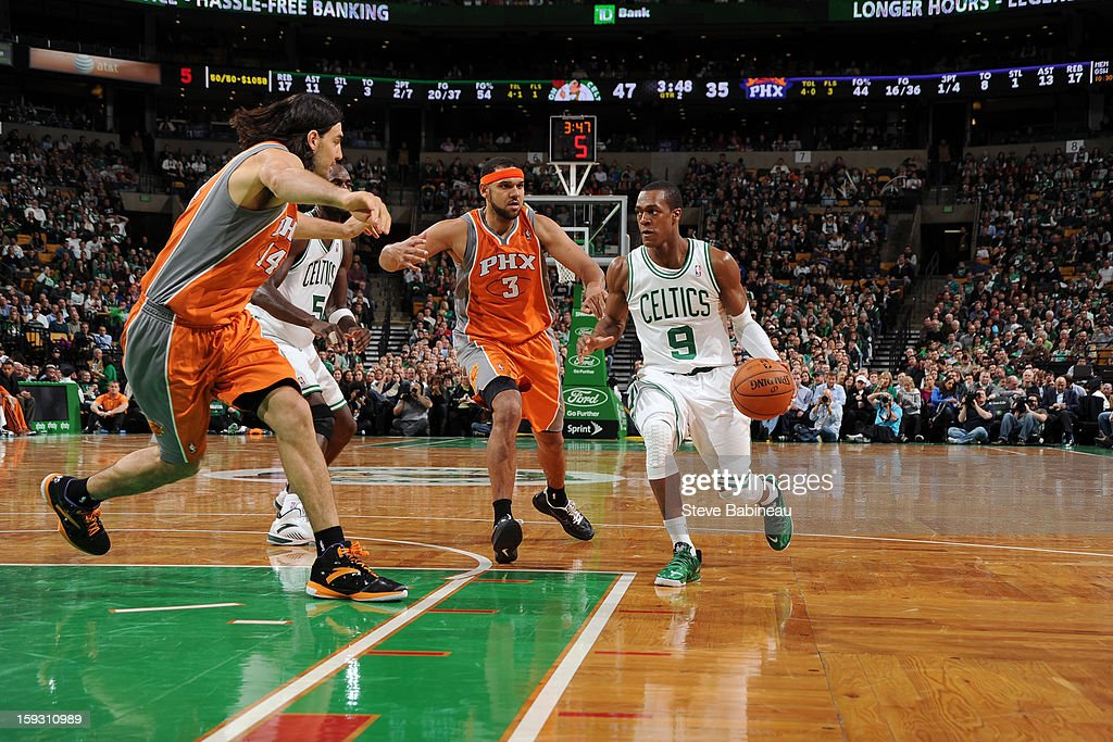 Rajon Rondo #9 of the Boston Celtics handles the ball against the Phoenix Suns on January 9, 2013 at the TD Garden in Boston, Massachusetts.