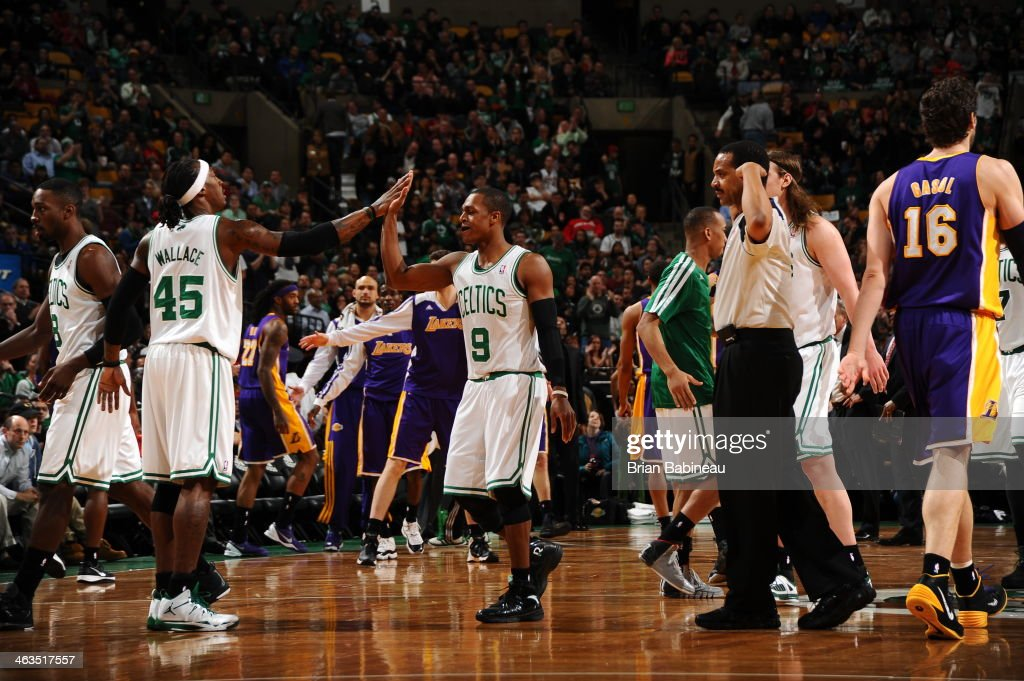 <a gi-track='captionPersonalityLinkClicked' href=/galleries/search?phrase=Rajon+Rondo&family=editorial&specificpeople=206983 ng-click='$event.stopPropagation()'>Rajon Rondo</a> #9 of the Boston Celtics looks on against the Los Angeles Lakers on January 17, 2014 at the TD Garden in Boston, Massachusetts.