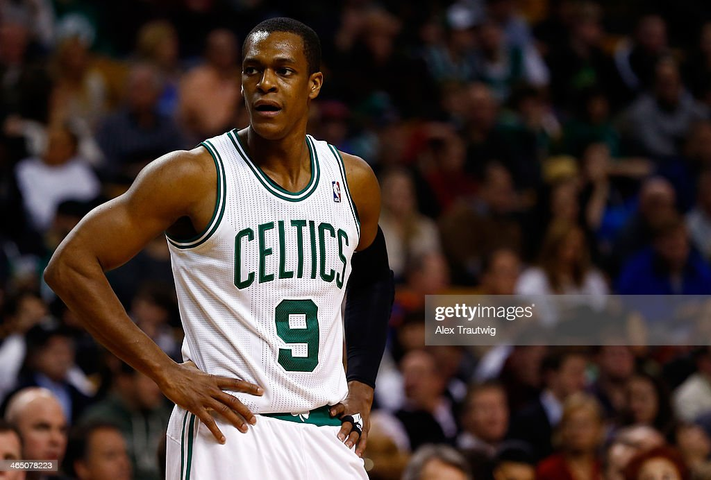 <a gi-track='captionPersonalityLinkClicked' href=/galleries/search?phrase=Rajon+Rondo&family=editorial&specificpeople=206983 ng-click='$event.stopPropagation()'>Rajon Rondo</a> #9 of the Boston Celtics looks on during a game against the Oklahoma City Thunder at the TD Garden on January 24, 2014 in Boston, Massachusetts.