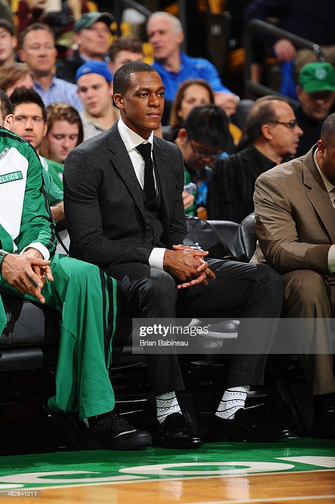 <a gi-track='captionPersonalityLinkClicked' href=/galleries/search?phrase=Rajon+Rondo&family=editorial&specificpeople=206983 ng-click='$event.stopPropagation()'>Rajon Rondo</a> #9 of the Boston Celtics looks on from the bench during the game against the Memphis Grizzlies on November 27, 2013 at the TD Garden in Boston, Massachusetts.