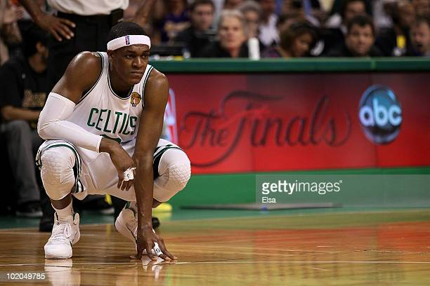Rajon Rondo of the Boston Celtics looks on in the fourth quarter during Game Five of the 2010 NBA Finals against the Los Angeles Lakers on June 13...
