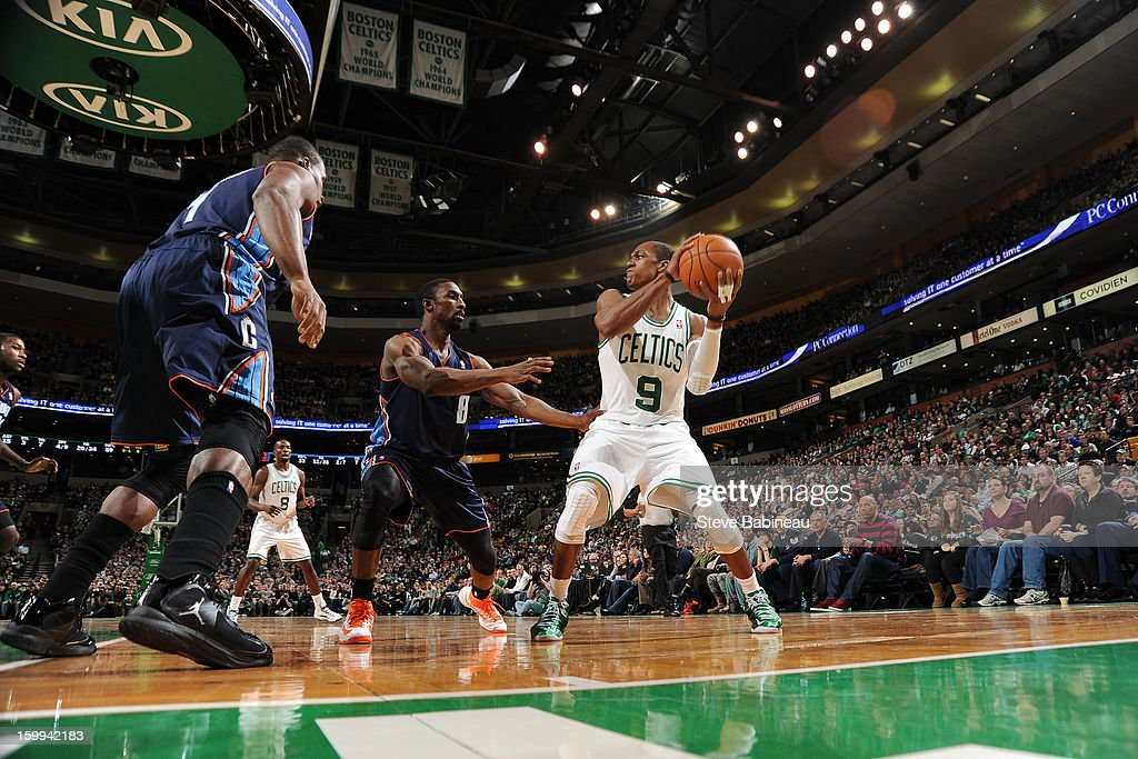 <a gi-track='captionPersonalityLinkClicked' href=/galleries/search?phrase=Rajon+Rondo&family=editorial&specificpeople=206983 ng-click='$event.stopPropagation()'>Rajon Rondo</a> #9 of the Boston Celtics looks to pass the ball against <a gi-track='captionPersonalityLinkClicked' href=/galleries/search?phrase=Ben+Gordon&family=editorial&specificpeople=202181 ng-click='$event.stopPropagation()'>Ben Gordon</a> #8 of the Charlotte Bobcats on January 14, 2013 at the TD Garden in Boston, Massachusetts.