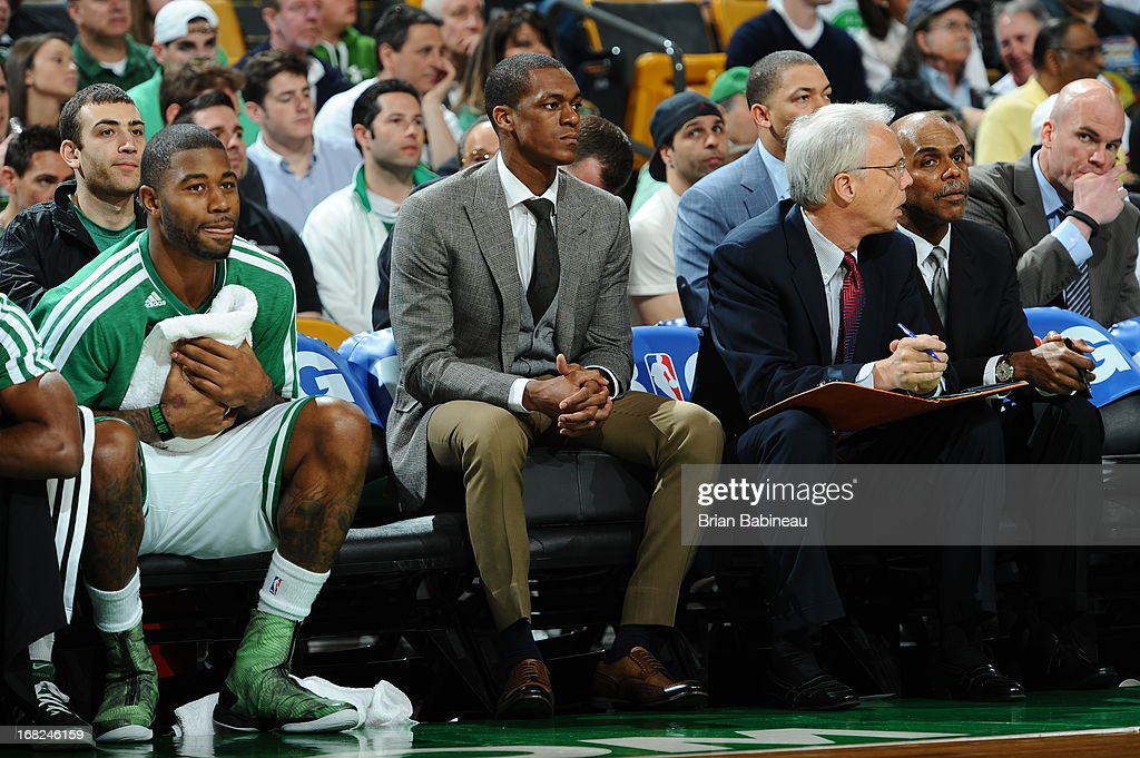 Rajon Rondo #9 of the Boston Celtics on the bench during the game between the Boston Celtics and New York Knicks during Game Four of the Eastern Conference Quarterfinals on April 28, 2013 at the TD Garden in Boston, Massachusetts.