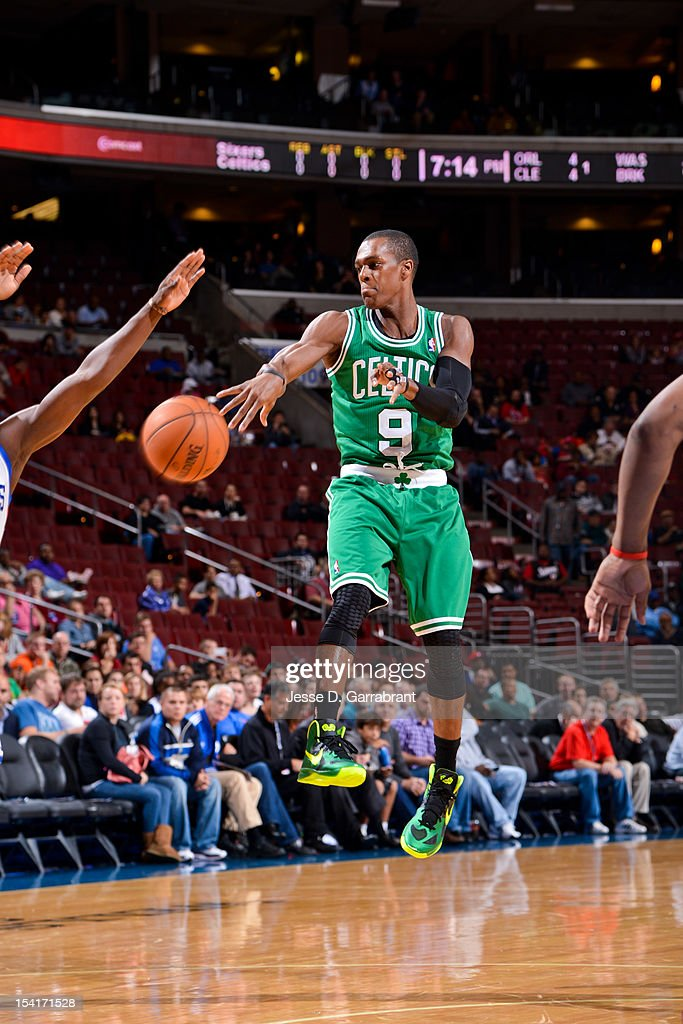 Rajon Rondo #9 of the Boston Celtics passes the ball against the Philadelphia 76ers during a pre-season game at the Wells Fargo Center on October 15, 2012 in Philadelphia, Pennsylvania.