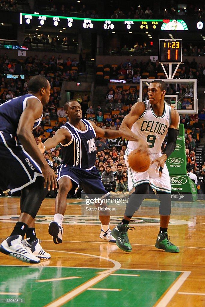 Rajon Rondo #9 of the Boston Celtics passes the ball against the Oklahoma City Thunder on January 24, 2014 at the TD Garden in Boston, Massachusetts.