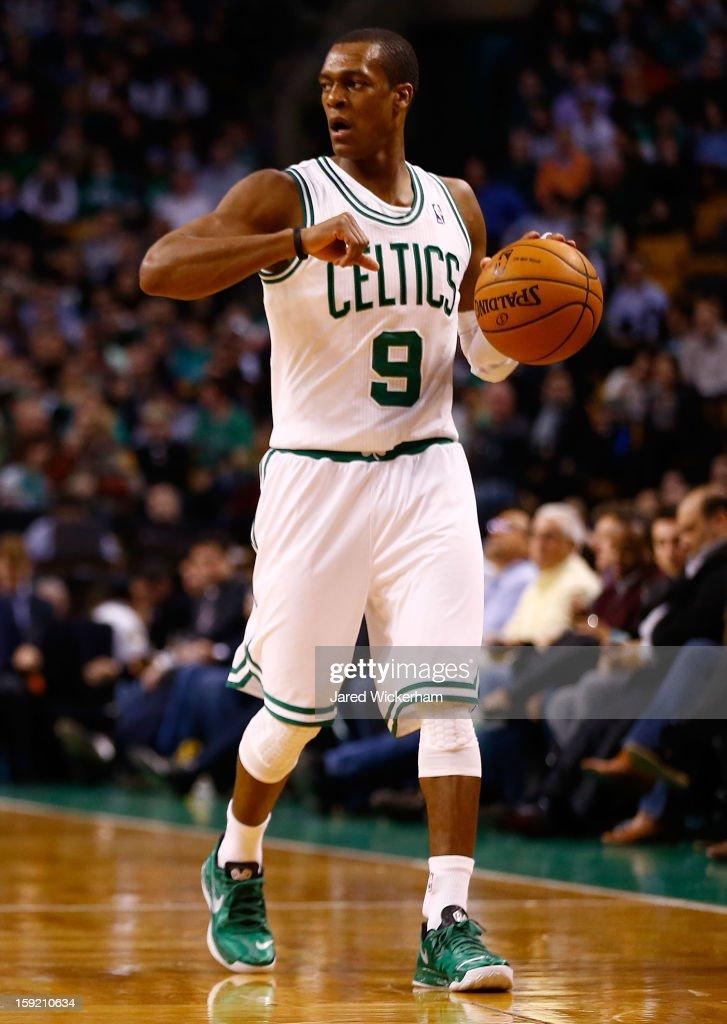 Rajon Rondo #9 of the Boston Celtics plays against the Phoenix Suns during the game on January 9, 2013 at TD Garden in Boston, Massachusetts.