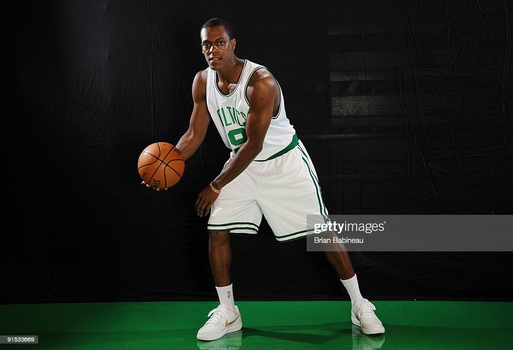 <a gi-track='captionPersonalityLinkClicked' href=/galleries/search?phrase=Rajon+Rondo&family=editorial&specificpeople=206983 ng-click='$event.stopPropagation()'>Rajon Rondo</a> #9 of the Boston Celtics poses for a portrait during the 2009 NBA Media Day on September 28, 2009 at Healthpoint in Waltham, Massachusetts.