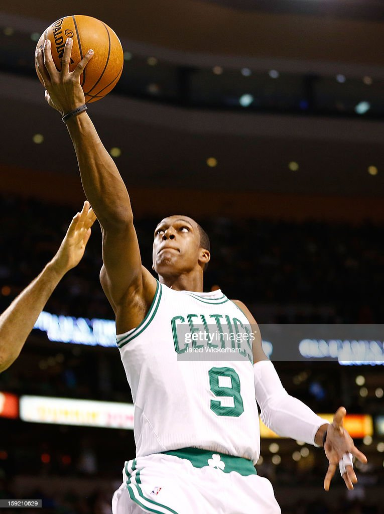 Rajon Rondo #9 of the Boston Celtics puts up a layup against the Phoenix Suns during the game on January 9, 2013 at TD Garden in Boston, Massachusetts.