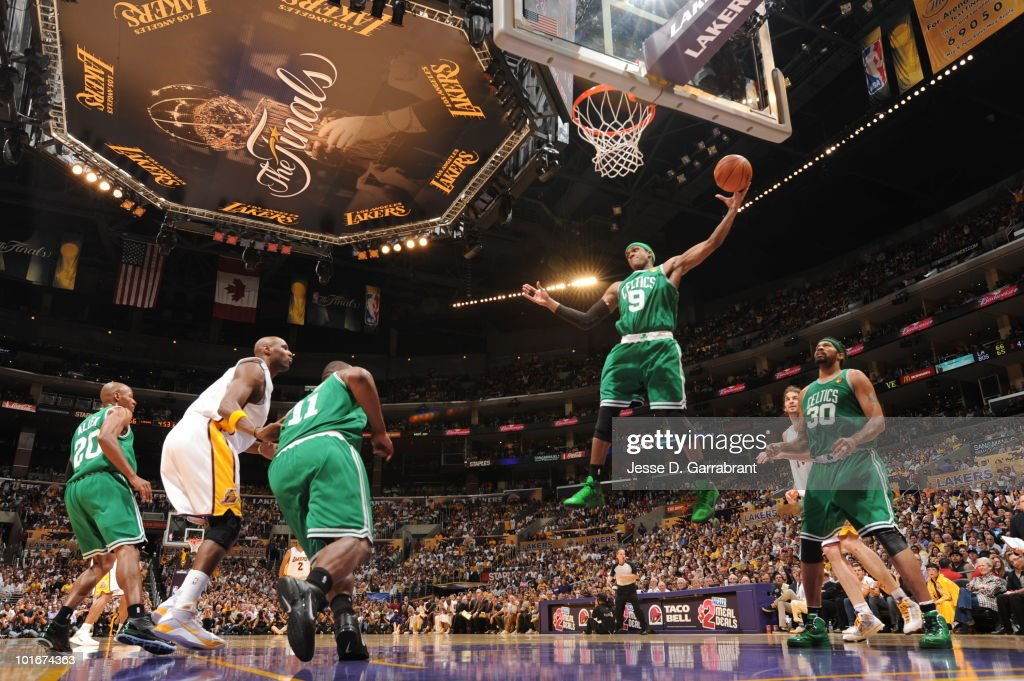 Rajon Rondo #9 of the Boston Celtics rebounds against the Los Angeles Lakers in Game Two of the 2010 NBA Finals on June 6, 2010 at Staples Center in Los Angeles, California.