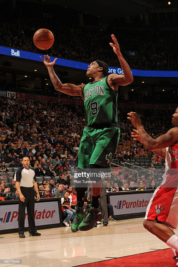 <a gi-track='captionPersonalityLinkClicked' href=/galleries/search?phrase=Rajon+Rondo&family=editorial&specificpeople=206983 ng-click='$event.stopPropagation()'>Rajon Rondo</a> #9 of the Boston Celtics rebounds against the Toronto Raptors on March 28, 2014 at the Air Canada Centre in Toronto, Ontario, Canada.