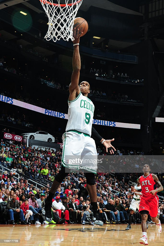Rajon Rondo #9 of the Boston Celtics rises for a layup against the Atlanta Hawks on January 5, 2013 at Philips Arena in Atlanta, Georgia.