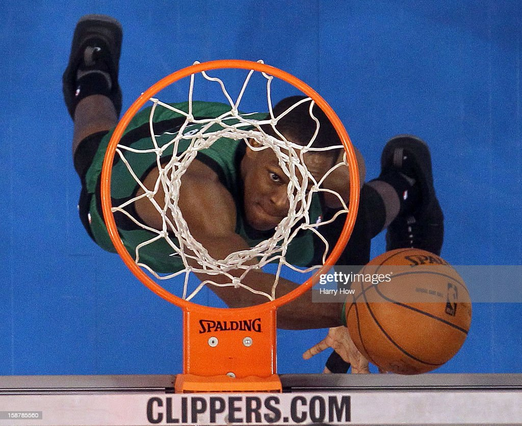 Rajon Rondo #9 of the Boston Celtics scores on a layup during a 106-77 loss to the Los Angeles Clippers at Staples Center on December 27, 2012 in Los Angeles, California.
