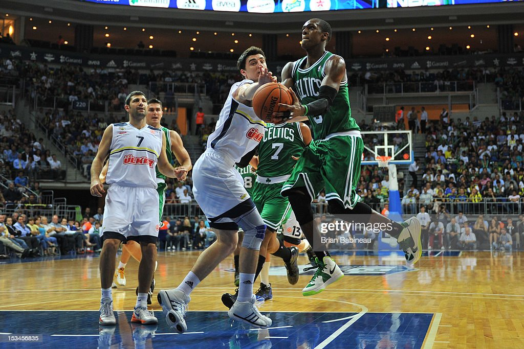 <a gi-track='captionPersonalityLinkClicked' href=/galleries/search?phrase=Rajon+Rondo&family=editorial&specificpeople=206983 ng-click='$event.stopPropagation()'>Rajon Rondo</a> #9 of the Boston Celtics shoots against Fenerbahce Ulker on October 5, 2012 at the Ulker Sports Arena in Istanbul, Turkey.