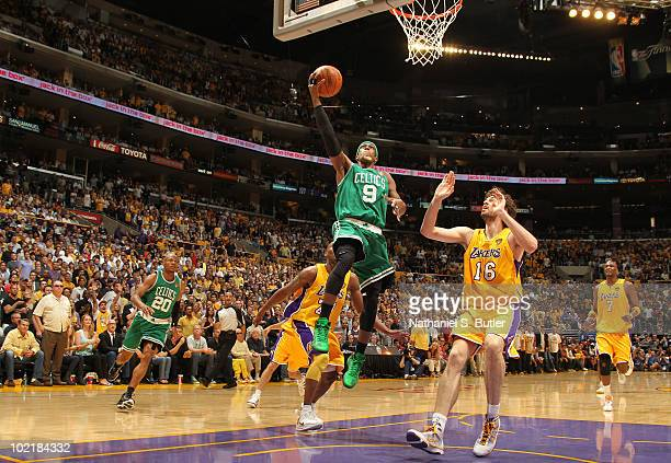 Rajon Rondo of the Boston Celtics shoots against Pau Gasol of the Los Angeles Lakers in Game Seven of the 2010 NBA Finals on June 17 2010 at Staples...