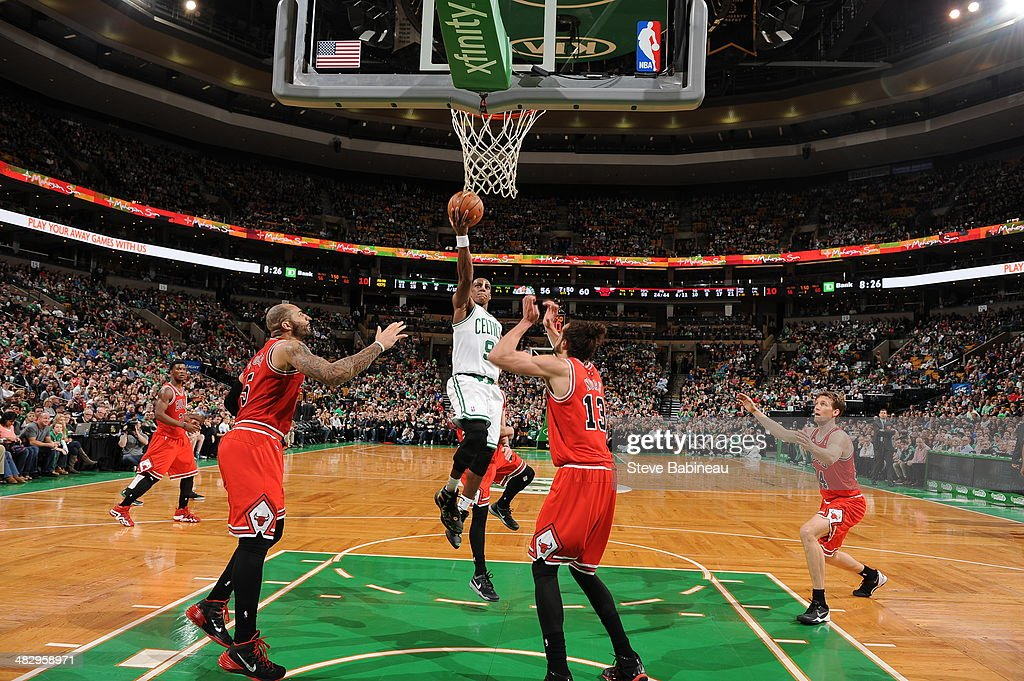 <a gi-track='captionPersonalityLinkClicked' href=/galleries/search?phrase=Rajon+Rondo&family=editorial&specificpeople=206983 ng-click='$event.stopPropagation()'>Rajon Rondo</a> #9 of the Boston Celtics shoots against the Chicago Bulls on March 30, 2014 at the TD Garden in Boston, Massachusetts.
