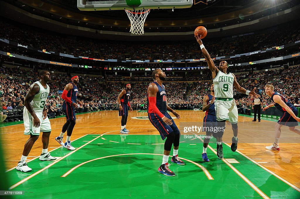 <a gi-track='captionPersonalityLinkClicked' href=/galleries/search?phrase=Rajon+Rondo&family=editorial&specificpeople=206983 ng-click='$event.stopPropagation()'>Rajon Rondo</a> #9 of the Boston Celtics shoots against the Detroit Pistons on March 9, 2014 at the TD Garden in Boston, Massachusetts.