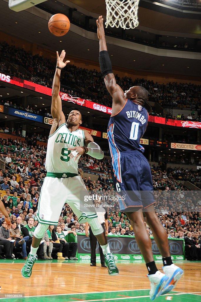 Rajon Rondo #9 of the Boston Celtics shoots the ball against Bismack Biyombo #0 of the Charlotte Bobcats on January 14, 2013 at the TD Garden in Boston, Massachusetts.