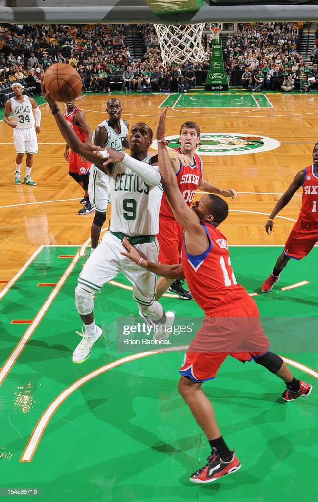 <a gi-track='captionPersonalityLinkClicked' href=/galleries/search?phrase=Rajon+Rondo&family=editorial&specificpeople=206983 ng-click='$event.stopPropagation()'>Rajon Rondo</a> #9 of the Boston Celtics shoots the ball against the Philadelphia 76ers on October 21, 2012 at the TD Garden in Boston, Massachusetts.