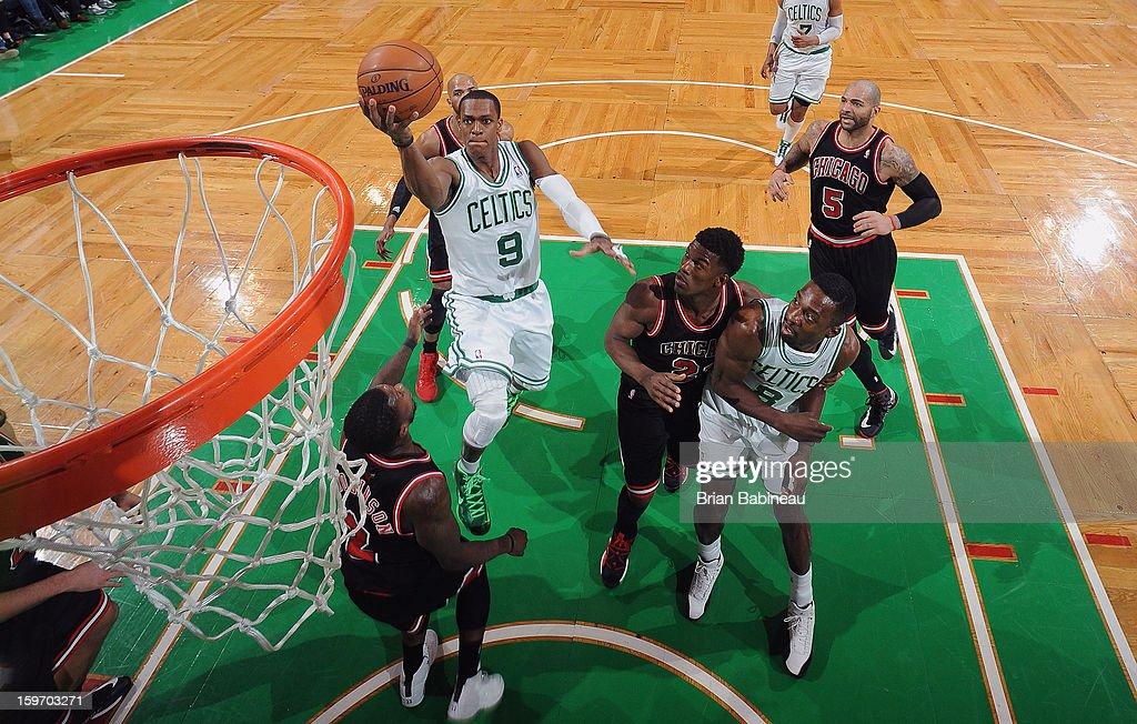 Rajon Rondo #9 of the Boston Celtics shoots the ball against the Chicago Bulls on January 18, 2013 at the TD Garden in Boston, Massachusetts.