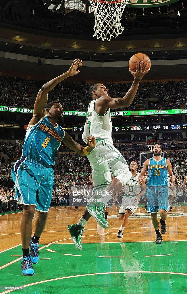 Rajon Rondo #9 of the Boston Celtics shoots the ball against the New Orleans Hornets on January 16, 2013 at the TD Garden in Boston, Massachusetts.