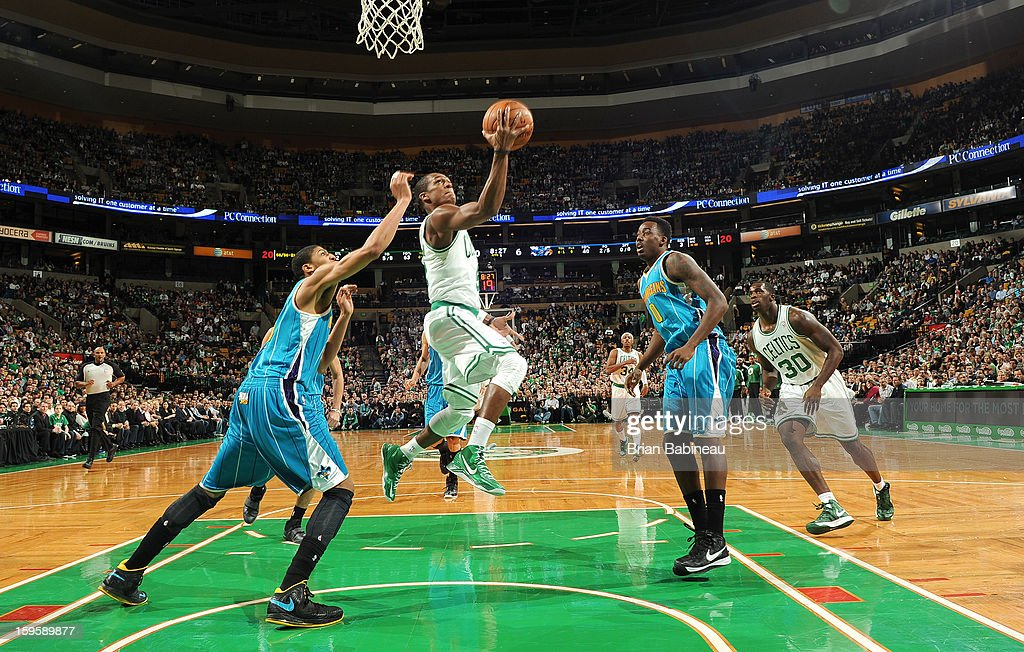 <a gi-track='captionPersonalityLinkClicked' href=/galleries/search?phrase=Rajon+Rondo&family=editorial&specificpeople=206983 ng-click='$event.stopPropagation()'>Rajon Rondo</a> #9 of the Boston Celtics shoots the ball against the New Orleans Hornets on January 16, 2013 at the TD Garden in Boston, Massachusetts.