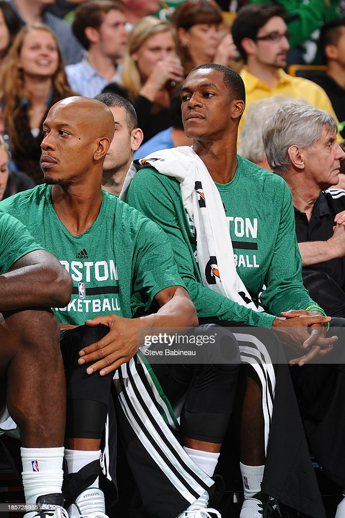 Rajon Rondo #9 of the Boston Celtics sits on the becnh during the game against the Toronto Raptors on October 7, 2013 at the TD Garden in Boston, Massachusetts.