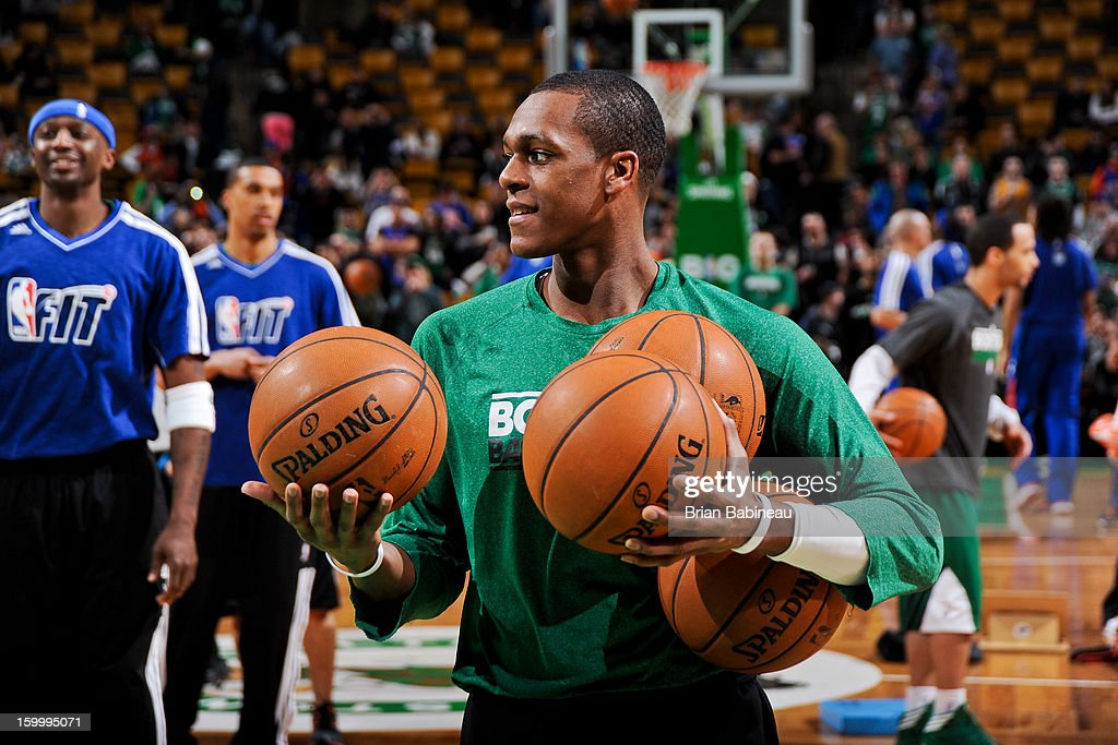 Rajon Rondo #9 of the Boston Celtics smiles during warm-ups before a game against the New York Knicks on January 24, 2013 at the TD Garden in Boston, Massachusetts.