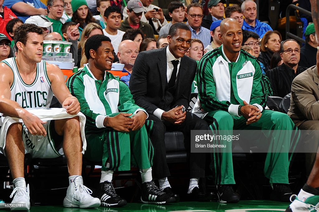 Rajon Rondo #9 of the Boston Celtics smiles from the bench during the game against the Memphis Grizzlies on November 27, 2013 at the TD Garden in Boston, Massachusetts.