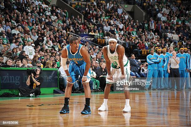 Rajon Rondo of the Boston Celtics waits for the play with Chris Paul of the New Orleans Hornets on December 12 2008 at the TD Banknorth Garden in...
