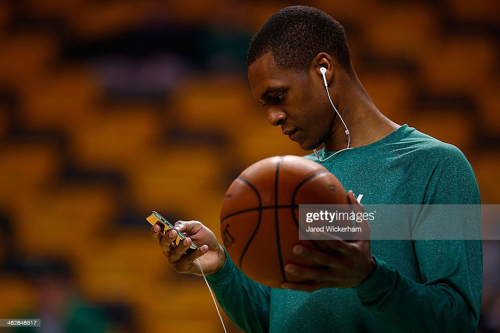 <a gi-track='captionPersonalityLinkClicked' href=/galleries/search?phrase=Rajon+Rondo&family=editorial&specificpeople=206983 ng-click='$event.stopPropagation()'>Rajon Rondo</a> #9 of the Boston Celtics warms up prior to the game against the Toronto Raptors at TD Garden on January 15, 2014 in Boston, Massachusetts.
