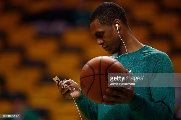 Rajon Rondo of the Boston Celtics warms up prior to the game against the Toronto Raptors at TD Garden on January 15 2014 in Boston Massachusetts NOTE...
