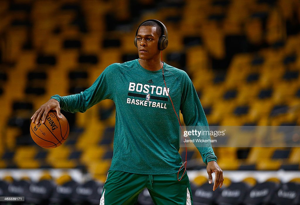 <a gi-track='captionPersonalityLinkClicked' href=/galleries/search?phrase=Rajon+Rondo&family=editorial&specificpeople=206983 ng-click='$event.stopPropagation()'>Rajon Rondo</a> #9 of the Boston Celtics warms up prior to the game against the Los Angeles Lakers at TD Garden on January 17, 2014 in Boston, Massachusetts. Rondo will play in his first game since January 25, 2013 following an ACL injury.