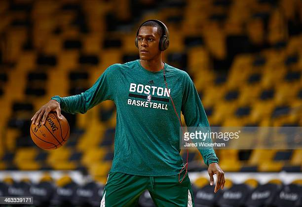 Rajon Rondo of the Boston Celtics warms up prior to the game against the Los Angeles Lakers at TD Garden on January 17 2014 in Boston Massachusetts...